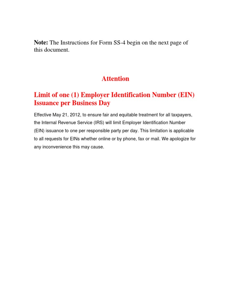 ss4 instructions.pdf | Irs Tax Forms | Limited Liability Company