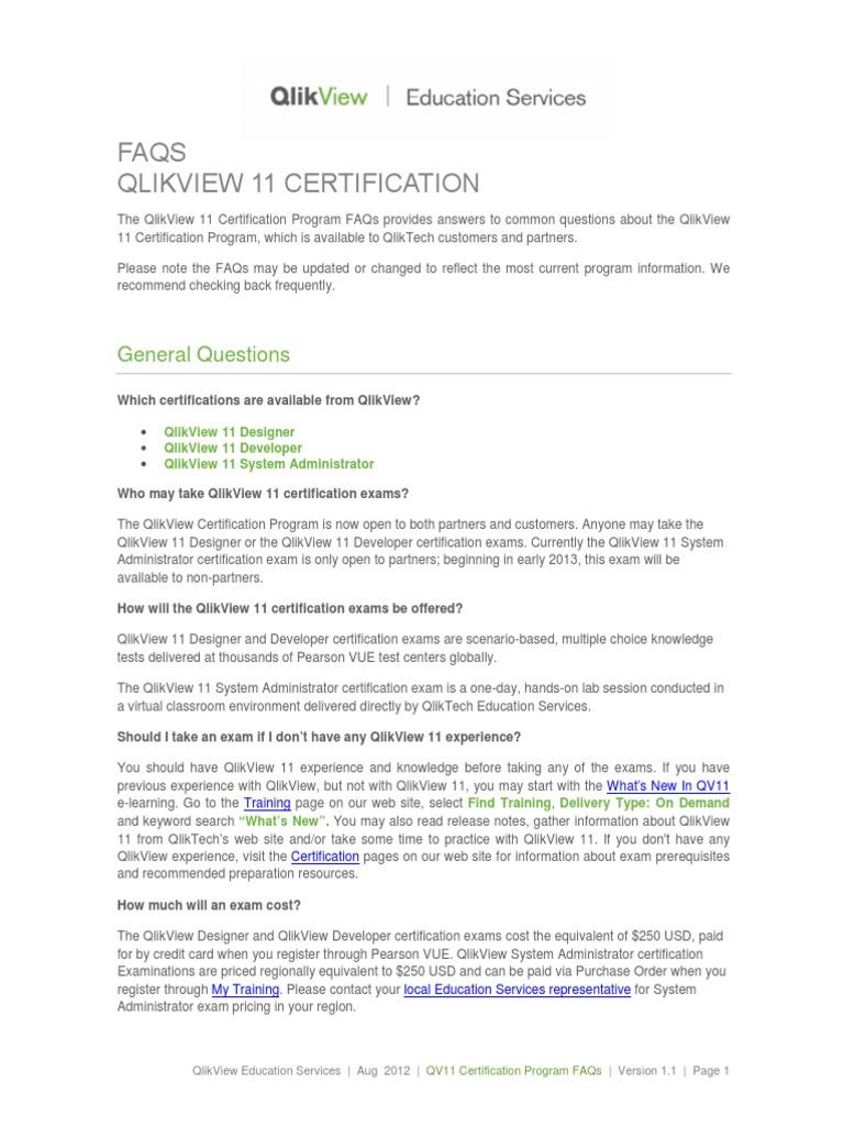 Qv11 Certification Program Faqs V11 Test Assessment