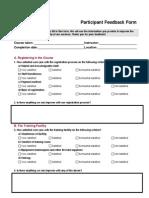 Participant Feedback Form