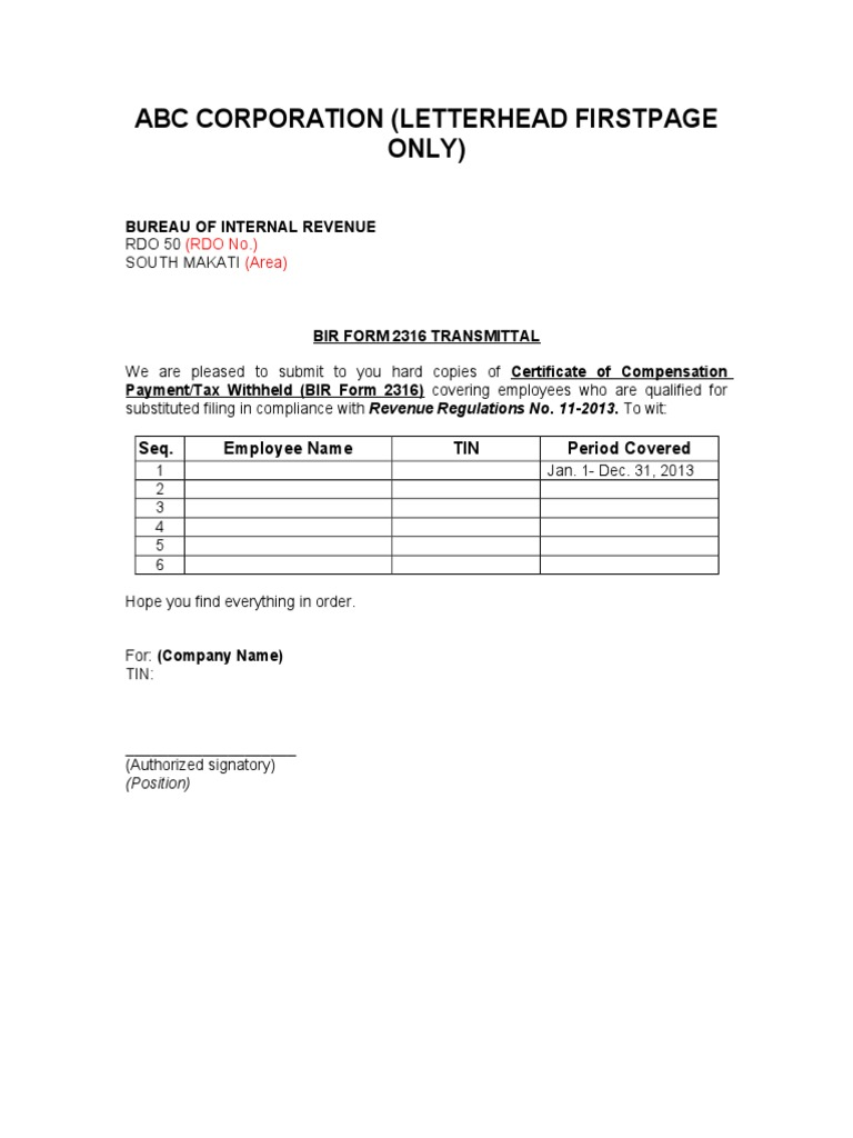 Bir Form 2316 Transmittal