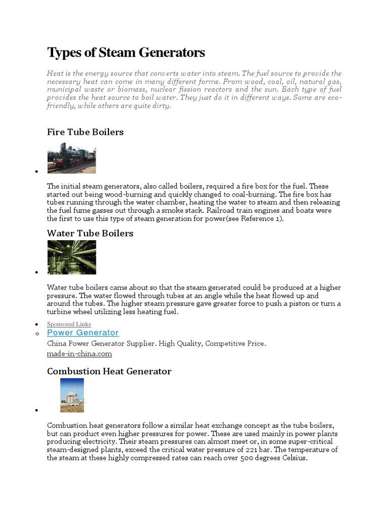 Types of Steam Generators | Boiler | Steam