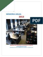 Memoria Biblioteca Economía e Empresa 2013