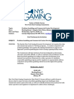 Problem Gambling Notice of Public Forum