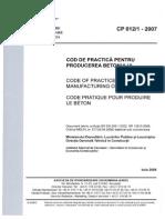 Cod de Practica Pentru Producerea Betonului CP 012-2007