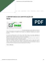 A IMPORTANCIA DA CERTIFICAÇÃO DE REDE _ Datalink