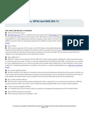 Cisco Wpa, Wpa2 and Ieee802 11i | Wireless Lan | Wireless