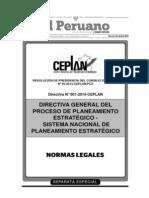 """Directiva General del Proceso de Planeamiento Estratégico - Sistema Nacional de Planeamiento Estratégico""""-SINAP"""