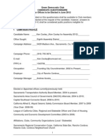 Ken Cooley Green Democrats Questionnaire from 2012