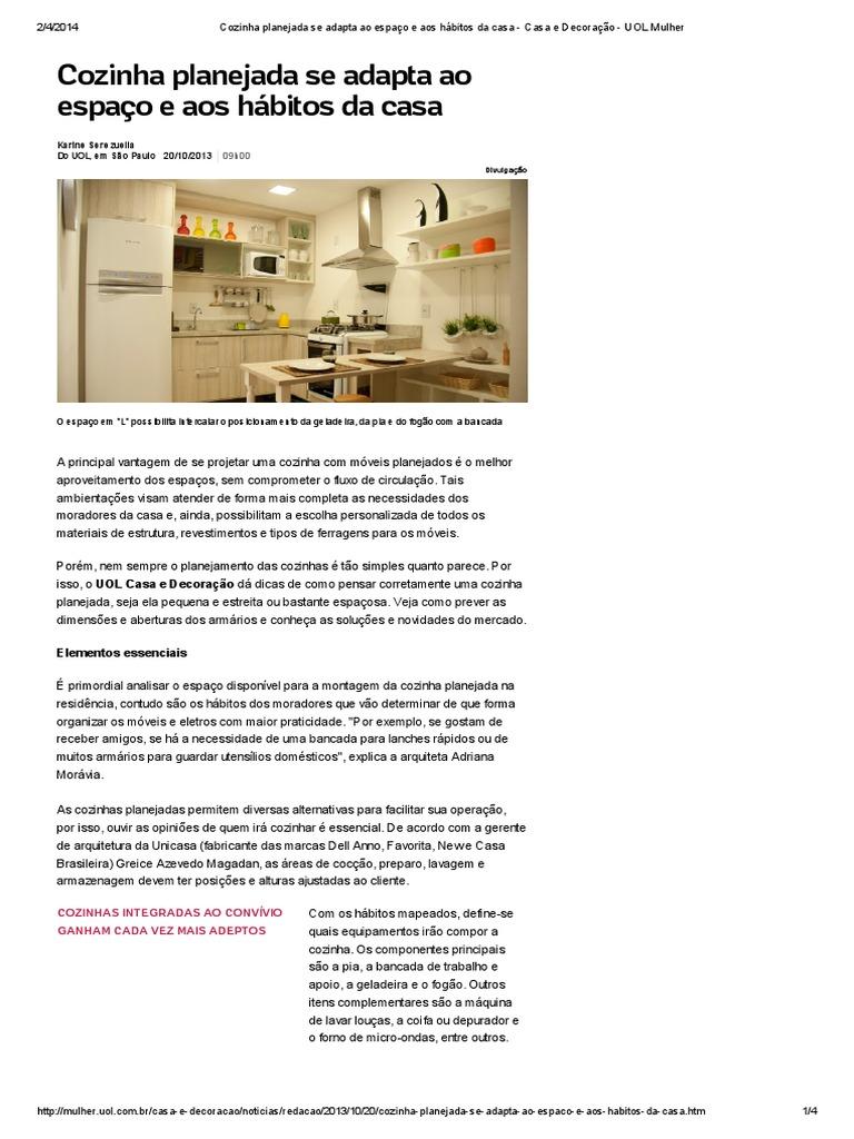 Cozinha Planejada Se Adapta Ao Espa O E Aos H Bitos Da Casa Casa  ~ Itens Essenciais Para Cozinha