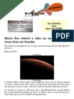 Marte fica visível a olho nu na noite desta terça-feira na Paraíba