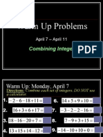 warm ups -april 7 - april 11 no answers