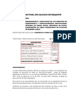 Informe Final de Calculo de Reajuste Garga