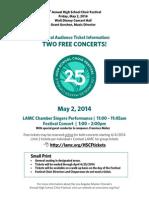 2014 High School Choir Ticket and T Shirt Flyer