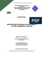 Historia Institucional de Guatemala La Real Audiencia 1543-1821