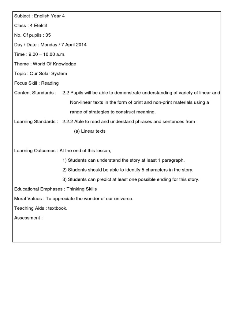 lesson plan kssr Lesson plan listening and speaking by the end of the lesson kssr worksheet band 1-6 (sk) year 1 https.