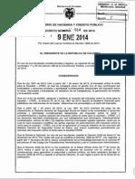 Decreto 014 Del 9 de Enero de 2014