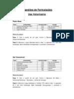 Sugestões de Formulações - Uso Veterinário