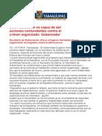 com0203, 100605 Ofrecen a gobierno de Eugenio Hernández seguimiento al programa contra delincuencia.