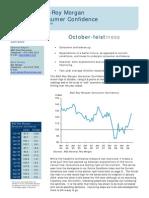 ANZ-Roy Morgan Consumer Confidence - October 2009