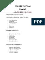 CURSO DE VÀLVULAS TEMARIO