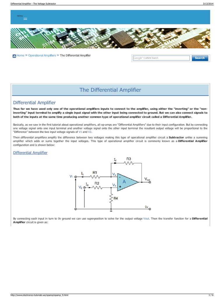 Differential Amplifier The Voltage Subtractor Operational Divider Electronics Tutorials