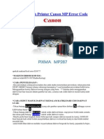 Baiki Masalah Printer Canon MP Error Code