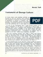 Bernie Taft - Testament of George Lukacs