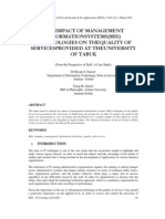 The Impact of Management Information Systems(MIS) Technologies on the Quality of Services Provided at the University of TABUK