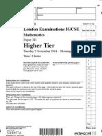 Paper 3H Higher 021104