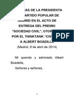 Palabras de Esperanza Aguirre con motivo del Premio Sociedad Civil otorgado a Albert Boadella