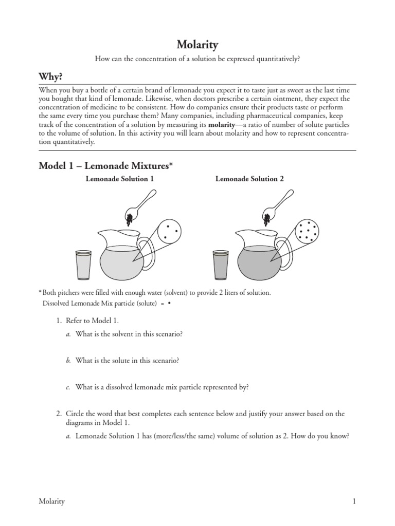 28 molaritys Molar Concentration – Molarity Worksheet Answers