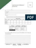 Formulário de Inscrição de Bilheteiros