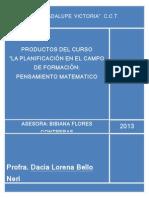 """PRODUCTOS DEL CURSO """"LA PLANIFICACIÓN EN EL"""