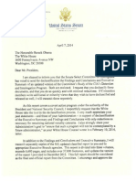 140407 Letter to President Obama Re Declassification of the SSCI's Study of the CIA's Detention and Interrogation Program - Public