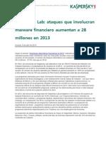 040914 Ataques de Malware Financieros Llegan a 28 Millones en 2013_SP_PERU