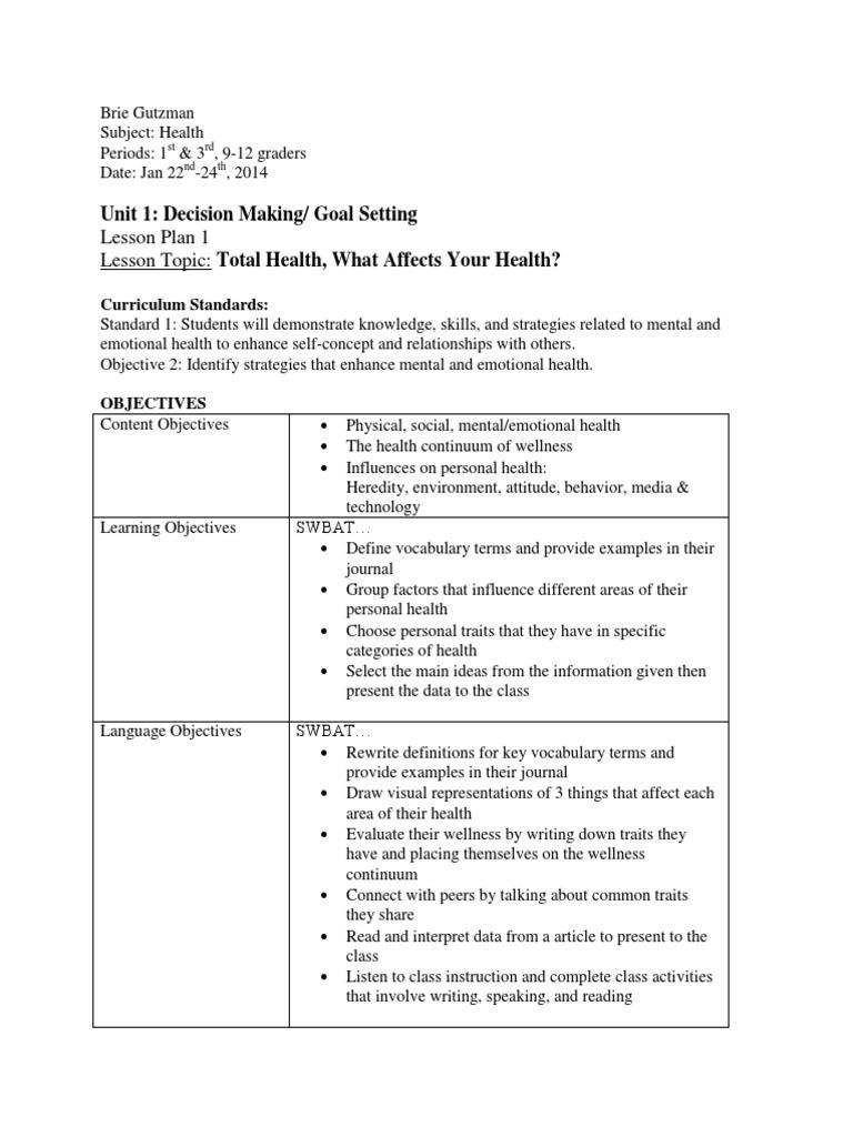 biol 303 environmental lesson plan