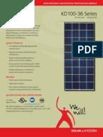 Kyocera - Panel Solar - Hoja Técnica - Policristalino - Series F - KD 100-36 -- KD135GX-LFBS, KD140GX-LFBS