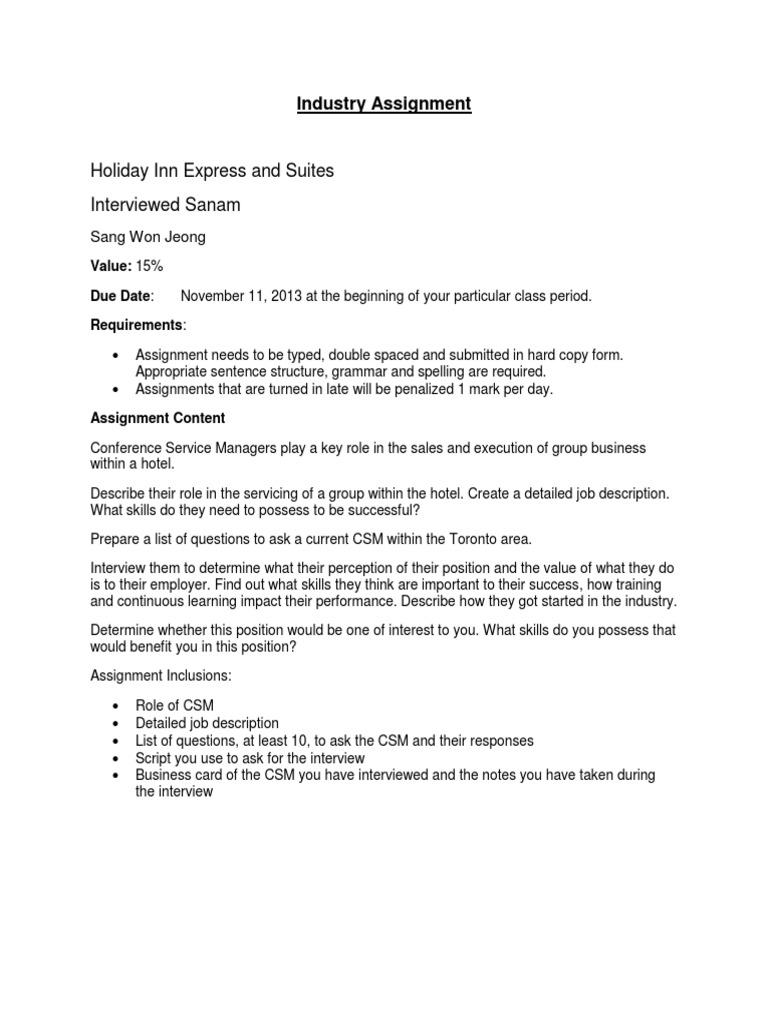 assignment csm interview