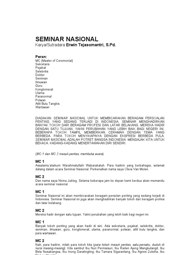Naskah Drama Seminar Nasional