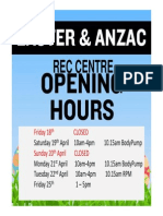 Easter and Anzac Opening Hours Rec Centre