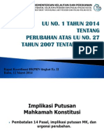 Sosialisasi Undang Undang Nomor 1 Tahun 2014 tentang Perubahan UU No. 27 Tahun 2007 tentang Pengelolaan Wilayah Pesisir dan Pulau Pulau Kecil