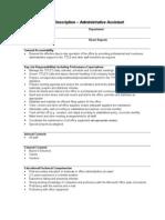 Sample Job Description Administrative Assistant
