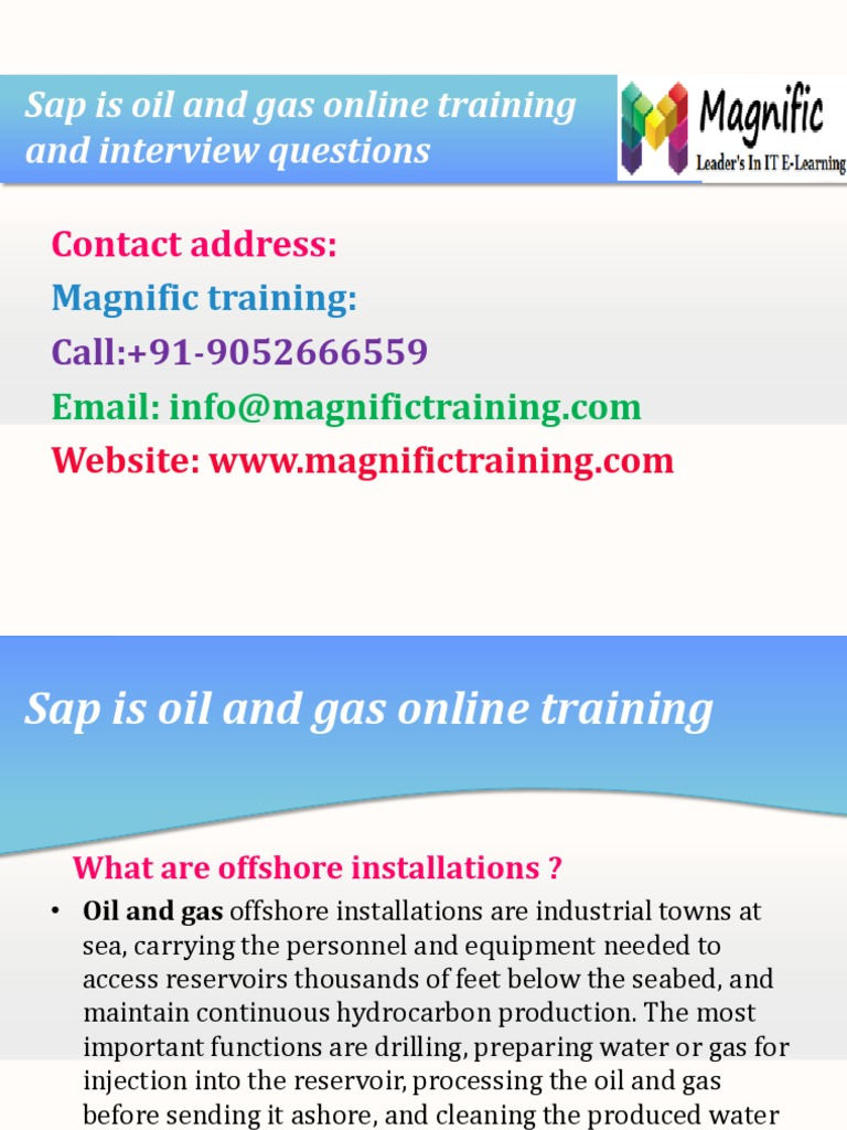 sap is oil and gas online training nad interview questions gases
