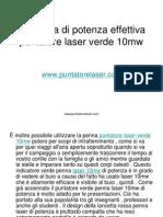 La Penna Di Potenza Effettiva Puntatore Laser Verde 10mw