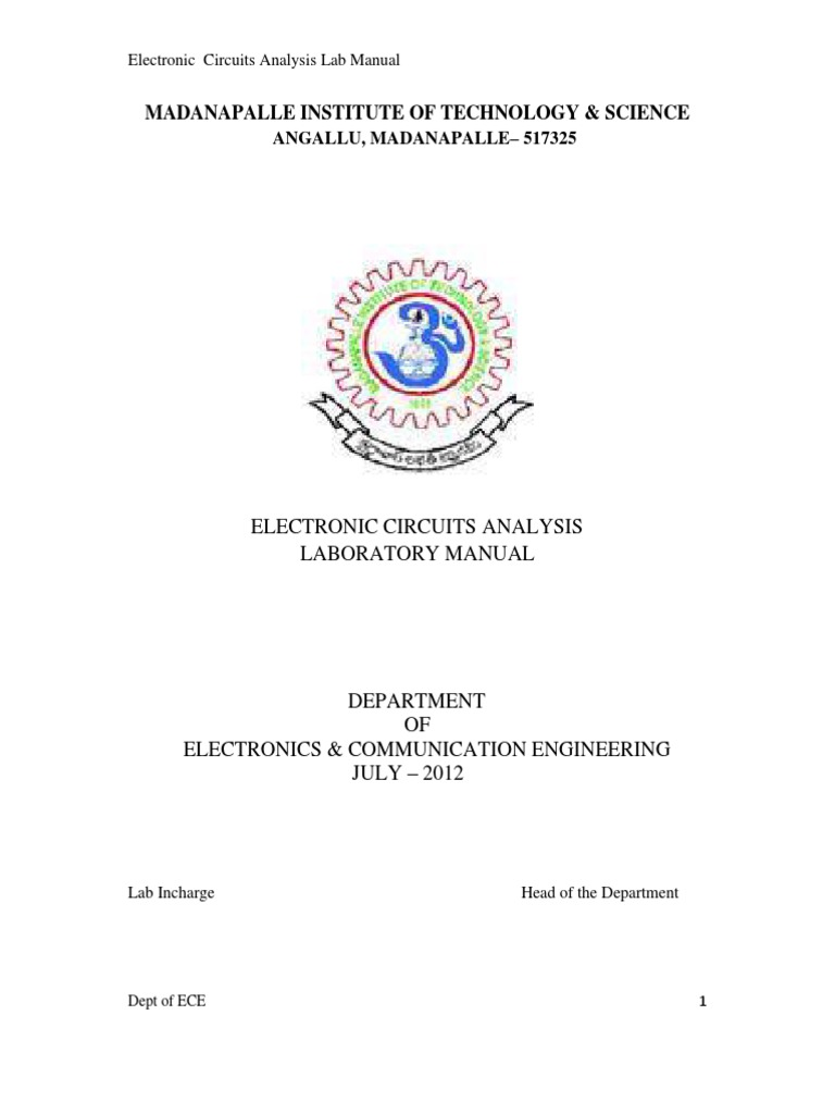 Ac.in_electronic Circuit Analysis Lab Manual | Amplifier | Network Analysis  (Electrical Circuits)
