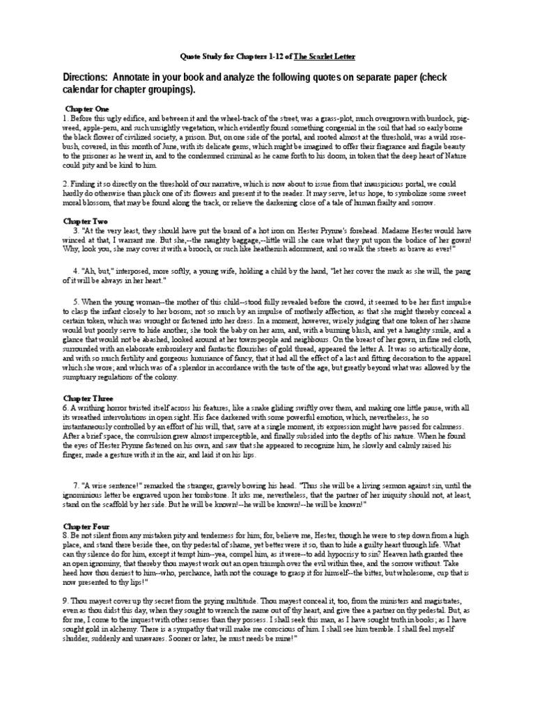 The Scarlet Letter Quotes The Scarlet Letter Penance