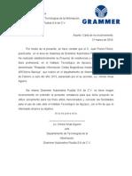 Carta de No Inconveniencia Grammer