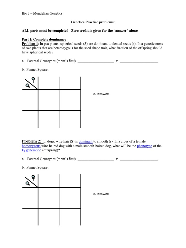 Genetics Practice Problem Packet With Test Cross and Dihybrid1 – Genetics Practice Problems Worksheet Answers
