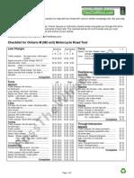 Ontario M M2 Motorcycle Road Test Checklist
