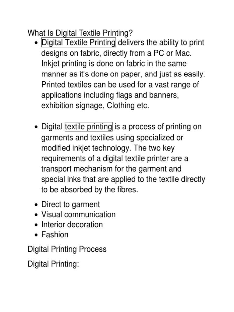 Digital Printing   Textiles   Ink